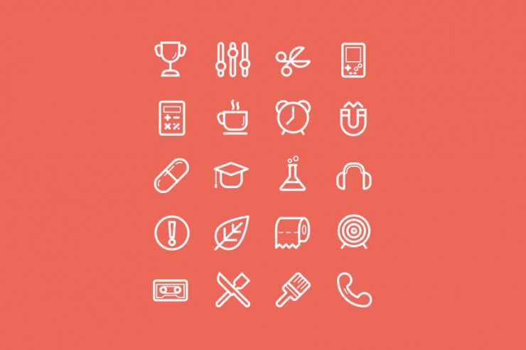 Flat Stroke Icons Set