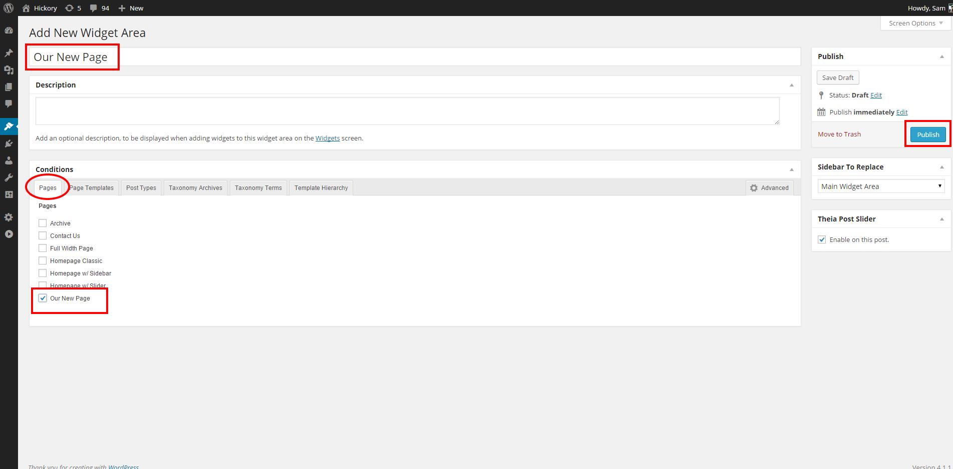 Hickory Widgetized Page Screenshot #2