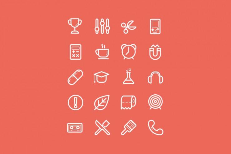 Flat Stroke Icons Set