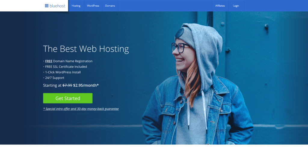 Bluehost welcome banner - start a blog