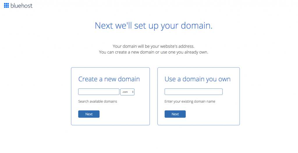 Bluehost domain screen