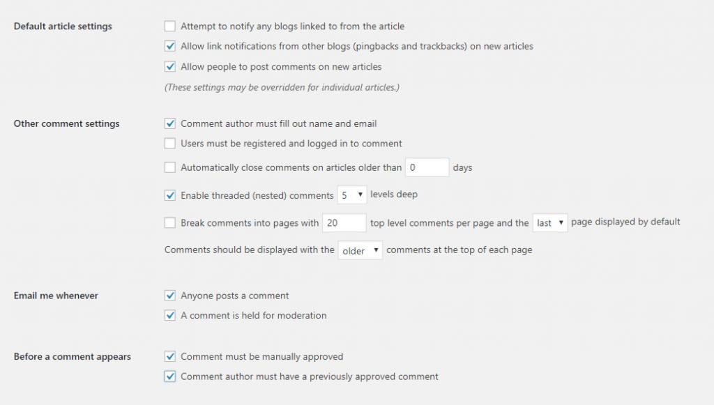 WordPress Setup Discussion Settings