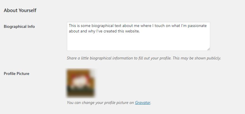 WordPress Setup Edit User Bio