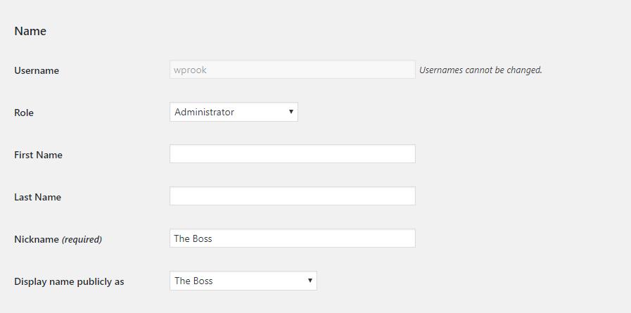 WordPress Setup Edit User Details
