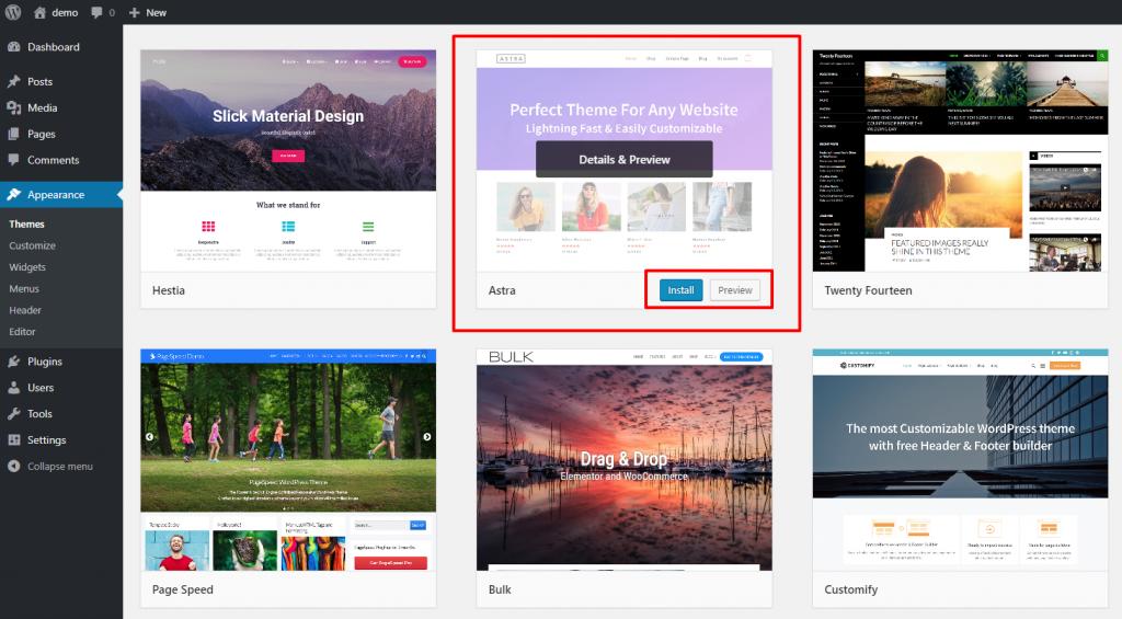 Install WordPress Free Theme