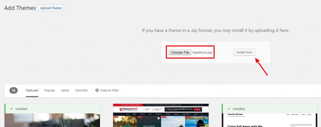 Install premium WordPress theme